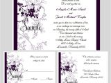Wedding Invitations with Rsvp and Reception Cards 100 Personalized Purple Floral Wedding Invitations Set