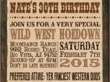 Western Birthday Invitations for Adults Print Your Own Wanted Poster Cowboy Western Adult