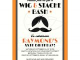 Wig themed Party Invitations Retro Wig and Mustache Bash Birthday Party Invitation