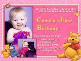 Winnie the Pooh Invites 1st Birthday Winnie the Pooh First Birthday Invitation Pink 1 or 2