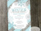 Winter Baby Girl Shower Invitations Winter Wonderland Baby Shower Invitation Snowflakes Blue