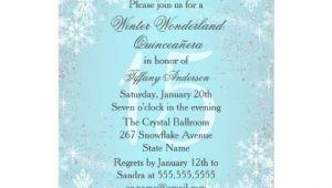 Winter Wonderland Quinceanera Invitations Blue Snowflake Winter Wonderland Quinceanera Personalized