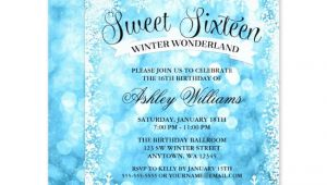Winter Wonderland Sweet 16 Party Invitations Sweet 16 Winter Wonderland Blue Glitter Lights Invitations