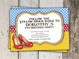 Wizard Of Oz Birthday Party Invitations Wizard Of Oz Birthday Invitation Follow the Yellow Brick