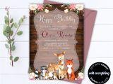 Woodland Birthday Invitation Template Woodland Birthday Party Invitation Template Rustic