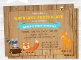 Woodland Onederland Birthday Invitations Rustic Woodland One Derland Birthday Party Invitation