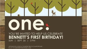 Woodland themed Birthday Invitations forest First Birthday Party Invitation Woodland forest Party