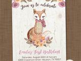 Woodland themed First Birthday Invitations Girls Woodland Birthday Invitation Printable Fox Birthday