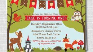 Woodland themed Party Invitations Woodland Animals Birthday Invitation Woodland by