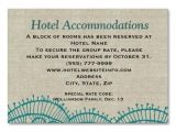 Wording for Hotel Information On Wedding Invitations Linen Teal Lace Hotel Accommodation Insert Cards