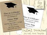 Words for Graduation Invitation Graduation Invitation Template with A Mortarboard Design