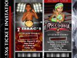 Wwe Wrestling Birthday Party Invitations Wrestling Party Ticket Invitation