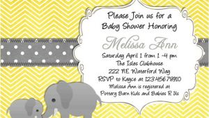 Yellow and Gray Elephant Baby Shower Invitations Yellow Elephant Baby Shower Invitation Yellow and Gray