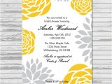 Yellow and Grey Bridal Shower Invitations Yellow and Gray Grey Bridal Shower Invitation by