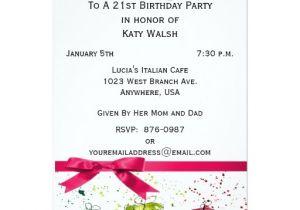 Zazzle 21st Birthday Invitations 21st Birthday Party Personalized Invitation