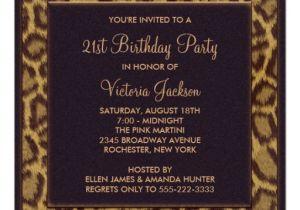 Zazzle 21st Birthday Invitations Leopard 21st Birthday Party Invitation