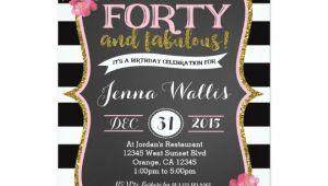 Zazzle 40th Birthday Invitations 40th forty & Fabulous Birthday Invitation