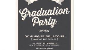 Zazzle Graduation Party Invitations Gray Retro Typography Graduation Party Invitation 5 Quot X 7
