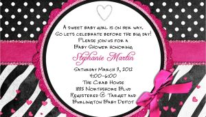 Zebra Print Baby Shower Invites Zebra Baby Shower Invitation Printable and Custom Pink or Teal