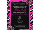 "Zebra Print Baby Shower Invites Zebra Print Baby Shower Invitation Hot Pink 5"" X 7"