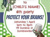 Zombie Birthday Invitation Template Party Invitation Plants Vs Zombies